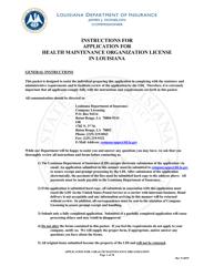 """Application for Health Maintenance Organization License in Louisiana"" - Louisiana"