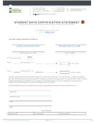 "Form C ""Student Data Certification Statement"" - Louisiana"