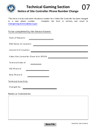 "Form VGD07VSC ""Notice of Site Controller Phone Number Change"" - Louisiana"