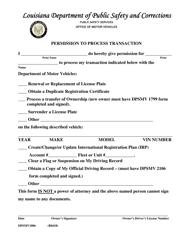 "Form DPSMV1806 ""Permission to Process Transaction"" - Louisiana"