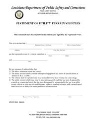 "Form DPSMV1810 ""Statement of Utility Terrain Vehicles"" - Louisiana"