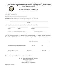 "Form DPSMV1811 ""Street Cruiser Affidavit"" - Louisiana"
