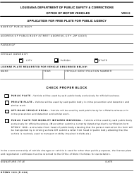 "Form VEH-5 (DPSMV1631) ""Application for Free Plate for Public Agency"" - Louisiana"