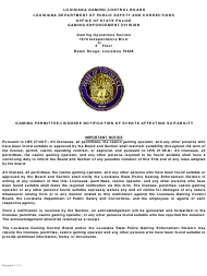 """Gaming Permittee/Licensee Notification of Events Affecting Suitability"" - Louisiana"