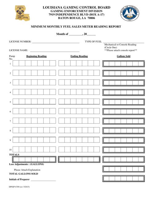 Form DPSSP6709  Printable Pdf