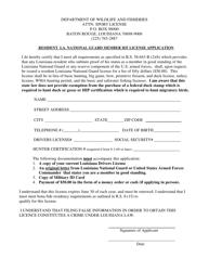 """Resident La. National Guard Member H/F License Application"" - Louisiana"