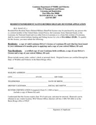 """Resident/Nonresident Native Retired Military Hunt/Fish Application"" - Louisiana"