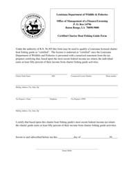 """""""Certified Charter Boat Fishing Guide Form"""" - Louisiana"""