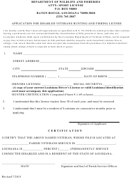 """""""Application for Disabled Veterans Hunting and Fishing License"""" - Louisiana"""