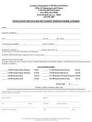 """""""Application for College Nr Student Hunting/Fishing Licenses"""" - Louisiana"""