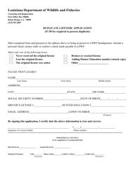 """Duplicate Lifetime Application"" - Louisiana"