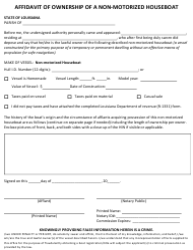 """""""Affidavit of Ownership of a Non-motorized Houseboat"""" - Louisiana"""