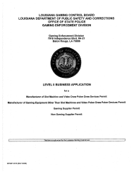 "Form DPSSP0073 ""Level Ii Business Application for a Manufacturer of Slot Machine and Video Draw Poker Devices Permit, Manufacturer of Gaming Equipment Other Than Slot Machines and Video Draw Poker Devices Permit, Gaming Supplier Permit, Non Gaming Supplier Permit"" - Louisiana"