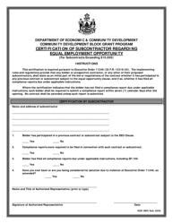 """Community Development Block Grant Program Certification of Subcontractor Regarding Equal Employment Opportunity"" - Maine"