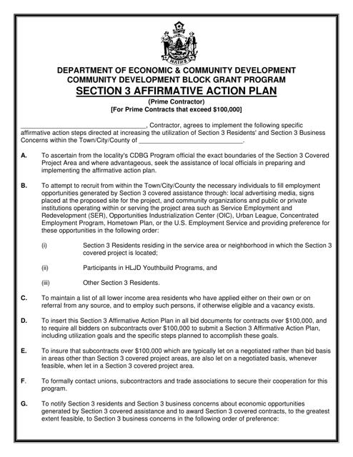 """Community Development Block Grant Program Section 3 Affirmative Action Plan"" - Maine Download Pdf"