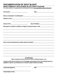 """Maine Community Development Block Grant Program Documentation of Spot Blight"" - Maine"