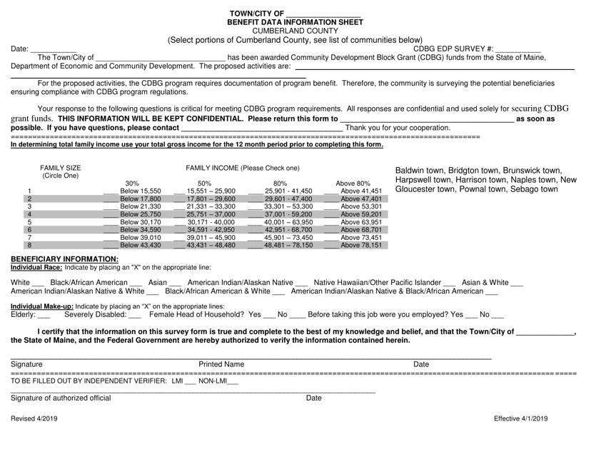 """Benefit Data Information Sheet"" - Cumberland County, Maine Download Pdf"