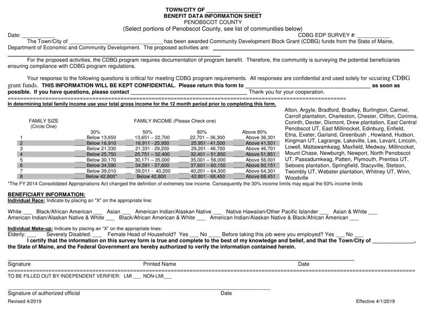 """Benefit Data Information Sheet"" - Penobscot County, Maine Download Pdf"