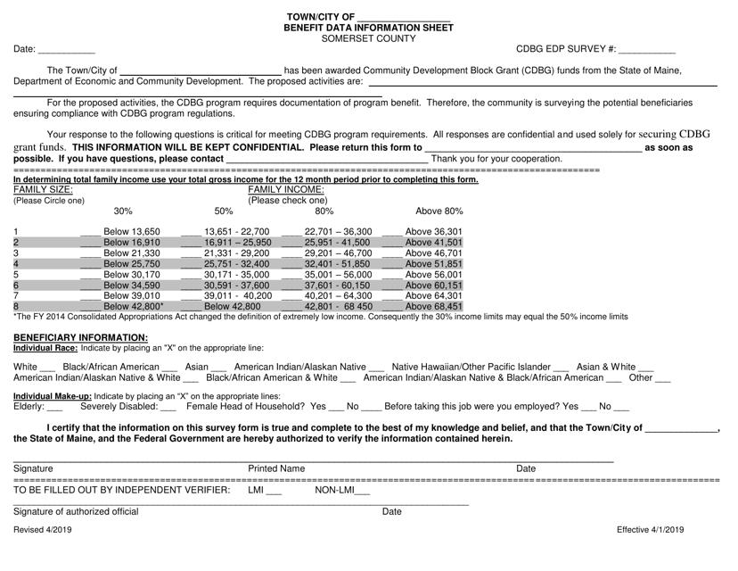 """Benefit Data Information Sheet"" - Somerset County, Maine Download Pdf"