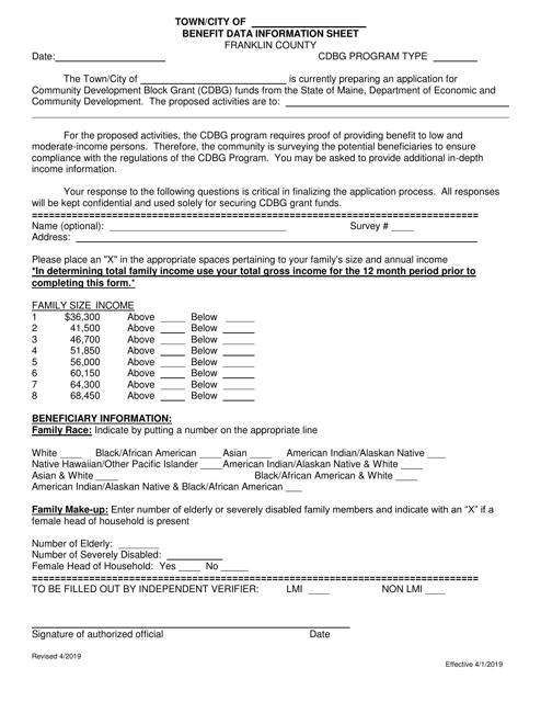 """Benefit Data Information Sheet"" - Franklin County, Maine Download Pdf"
