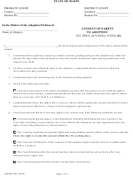 "Form AD-005 ""Consent of Parent to Adoption"" - Maine"