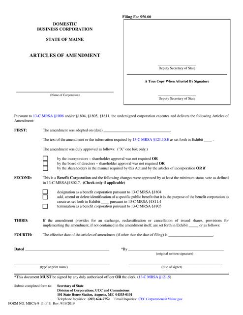 Form MBCA-9  Printable Pdf