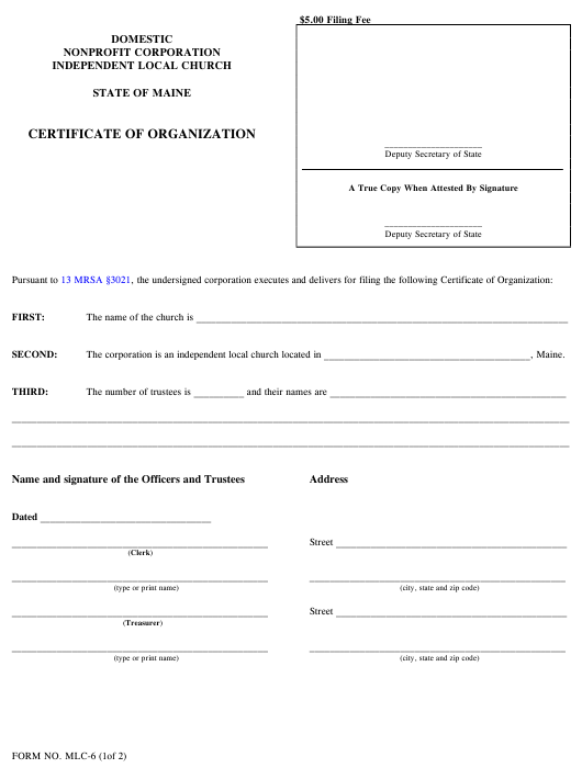 Form MLC-6 Printable Pdf