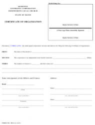 "Form MLC-6 ""Domestic Nonprofit Corporation Independent Local Church Certificate of Organization"" - Maine"