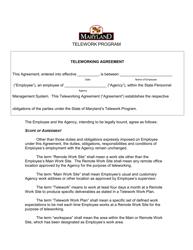 """Teleworking Agreement"" - Maryland"