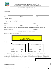 "Form MDE/ARMA/PER.024 ""Payment Transmittal Form X-Ray Registration"" - Maryland"
