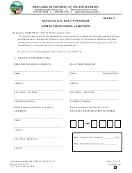 "Form MDE RX21 (MDE/ARMA/PER.026) ""Application for Plan Review"" - Maryland"