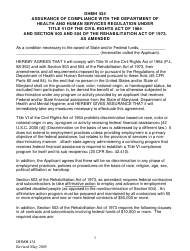 """Form DHMH434 """"Assurance of Compliance With the Department of Health and Human Services Regulation Under Title VI of the Civil Rights Act of 1964 and Section 503 and 504 of the Rehabilitation Act of 1973, as Amended"""" - Maryland"""