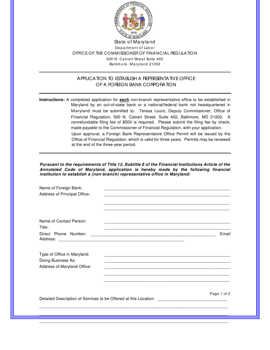 """""""Application to Establish a Representative Office of a Foreign Bank Corporation"""" - Maryland Download Pdf"""