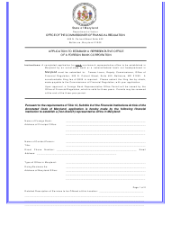 """""""Application to Establish a Representative Office of a Foreign Bank Corporation"""" - Maryland"""