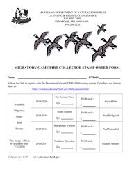 """Migratory Game Bird Collector Stamp Order Form"" - Maryland"