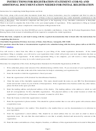 """Form COR-92 """"Registration Statement for Charitable Organizations"""" - Maryland"""