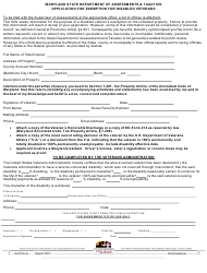 """Form SDATRP_EX-4A """"Application for Exemption for Disabled Veterans"""" - Maryland"""
