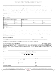 """Form SDATRP_EX-5A """"Application for Exemption for Blind Persons"""" - Maryland"""