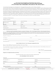 """Form SDATRP_EX-4C """"Application for Exemption for Surviving Spouses"""" - Maryland"""
