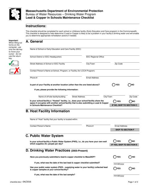 """Lead & Copper in Schools Maintenance Checklist"" - Massachusetts Download Pdf"