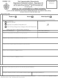 "Form 121 ""Appeal of Conference Proceeding"" - Massachusetts"