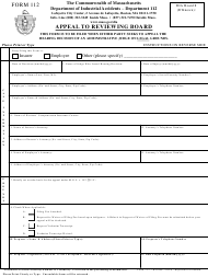 "Form 112 ""Appeal to Reviewing Board"" - Massachusetts"