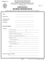 "Form 161 ""Employee's Hearing Memorandum"" - Massachusetts"