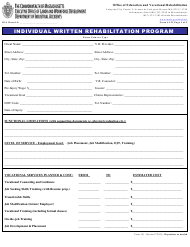 "Form 151 ""Individual Written Rehabilitation Program"" - Massachusetts"