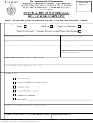 "Form 109 ""Notification of Withdrawal of Claim or Complaint"" - Massachusetts"