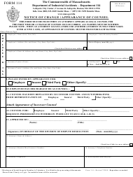 "Form 114 ""Notice of Change/Appearance of Counsel"" - Massachusetts"