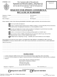 "Form 131 ""Request for Speedy Conference Because of Hardship"" - Massachusetts"
