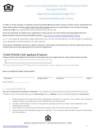 """Champ Application Update/Change Form - Household Makeup & Income"" - Massachusetts"