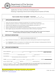 """Form FP-026 """"Application for New Certificate of Competency for Cleaning / Inspecting Commercial Cooking Exhaust Systems"""" - Massachusetts"""