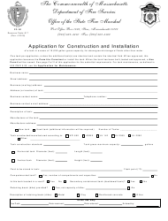 """Form FP-101 """"Application for Construction and Installation"""" - Massachusetts"""